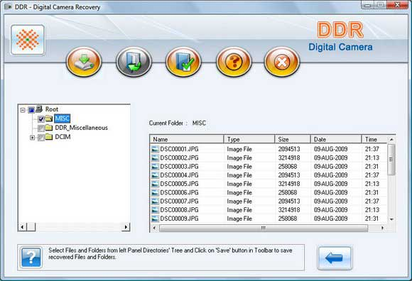 Digital Camera Data Recovery Software screen shot