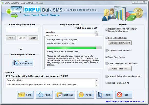 Click to View Full ScreenshotAndroid Bulk SMS Software 6.0.1.4 screenshot