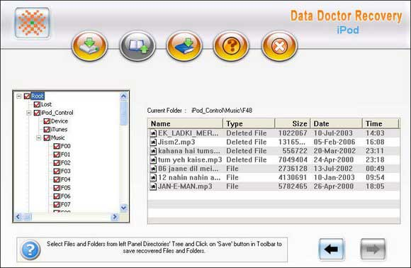 iPod Deleted Data Recovery Tool screen shot