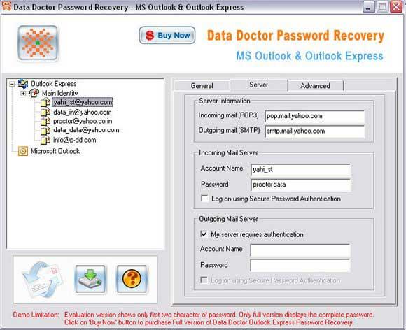 Outlook Account Password Recovery screenshot
