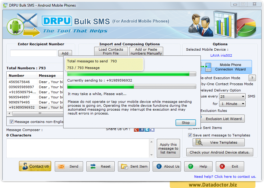 Android Mobile Bulk SMS Software