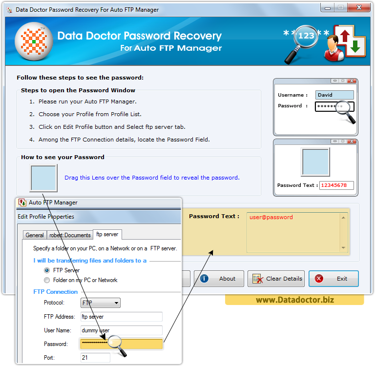 Data Doctor Password Recovery Software For Auto FTP Manager