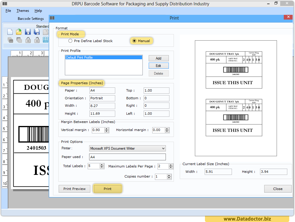 Packaging industry labels maker software | create tag