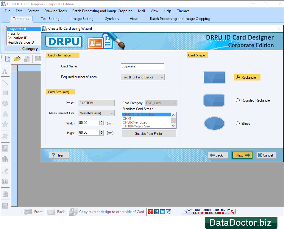 Create ID Card using Wizard