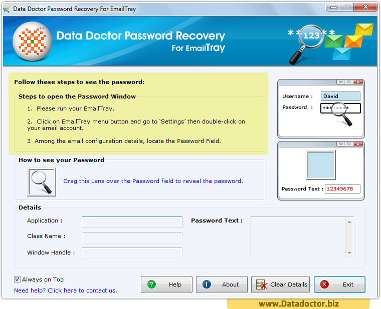 Password Recovery For EmailTray