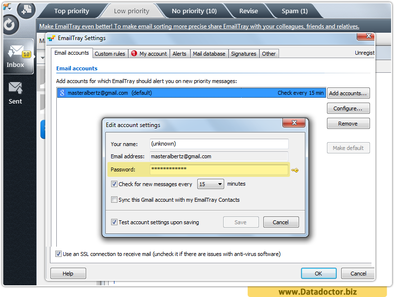 Data Doctor Password Recovery Software For EmailTray