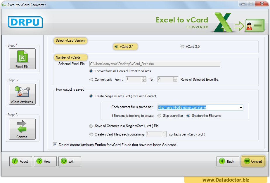 Excel to vCard Converter Tool