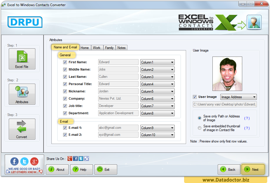 Excel to Windows Contacts Converter Software