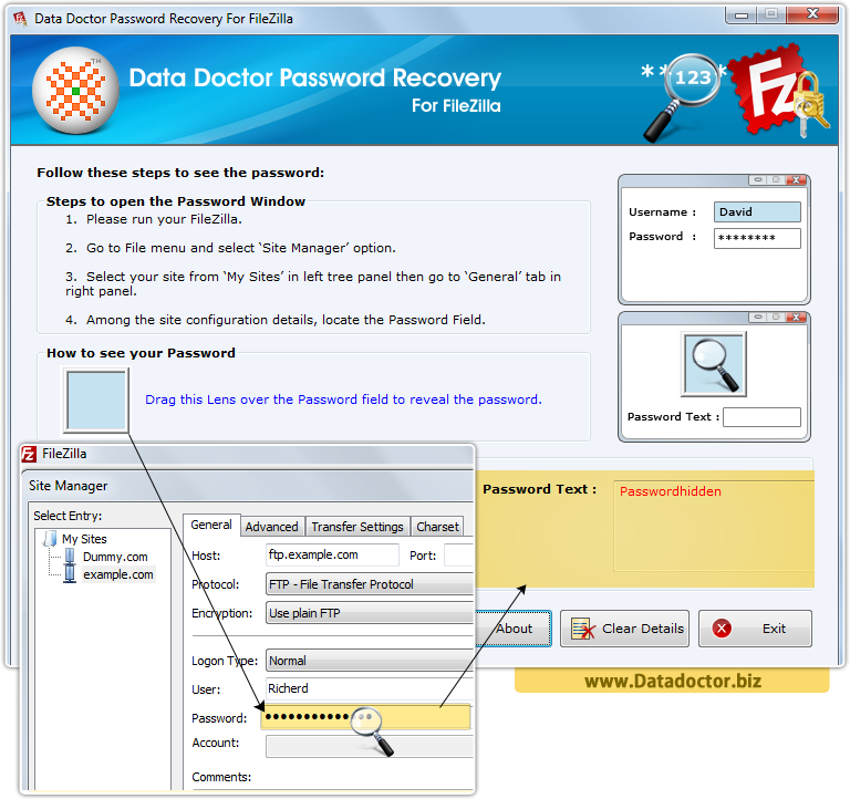 Data Doctor Password Recovery Software For FileZilla