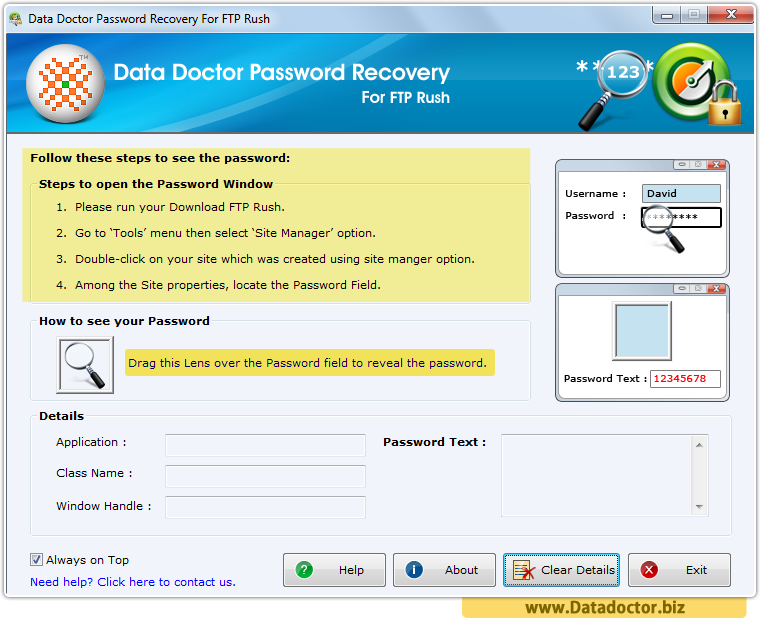 Password Recovery For FTP Rush