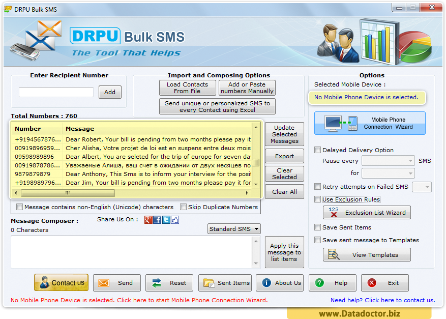 Bulk SMS Software for GSM Based Mobile Phone