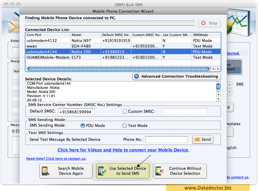 Bulk SMS Software for GSM Mobile for Mac OS X