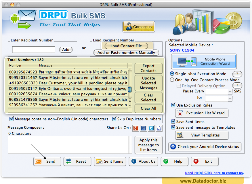 MAC OS X Bulk SMS Software - Professional