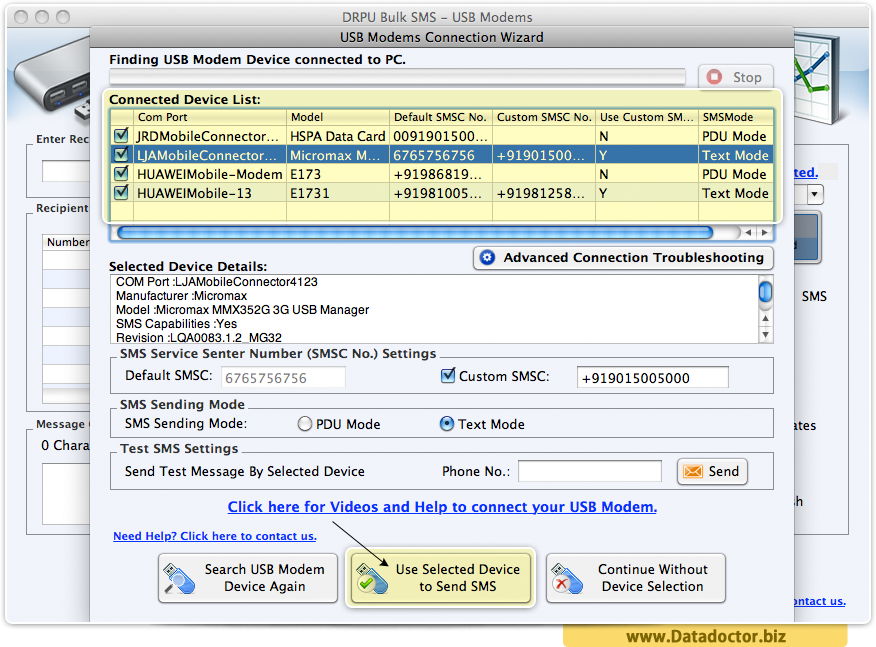 MAC OS X Bulk SMS Software for USB Modems