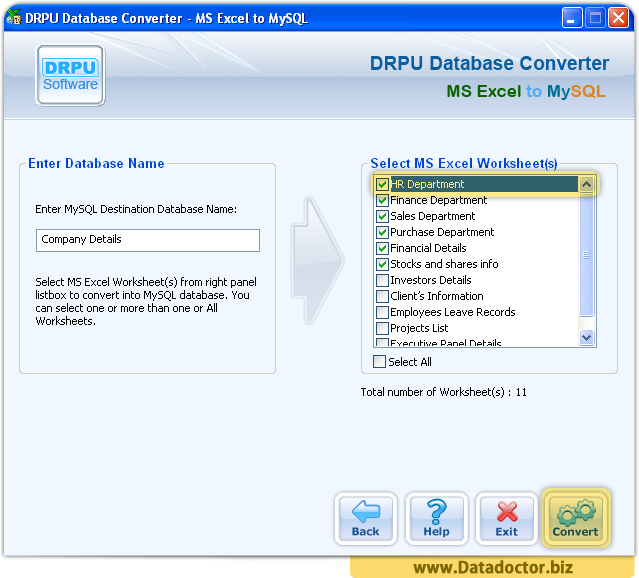 MS Excel to MySQL Database Converter Software