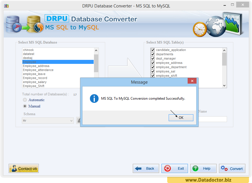 MS SQL to MySQL database conversion tool