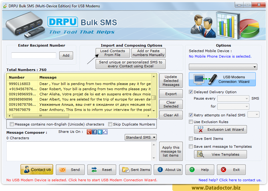 Bulk SMS Software - Multi USB Modem