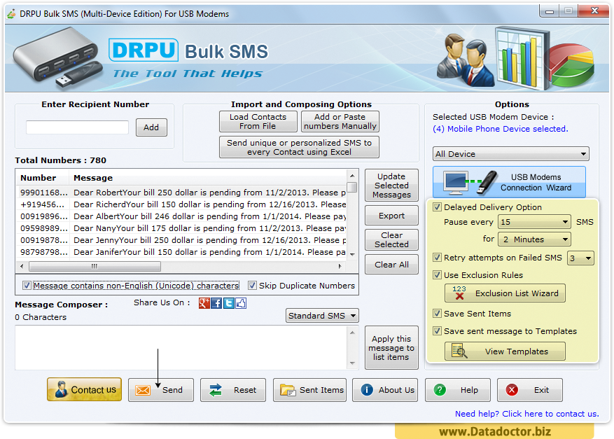 Windows Bulk SMS Software - Multi USB Modem