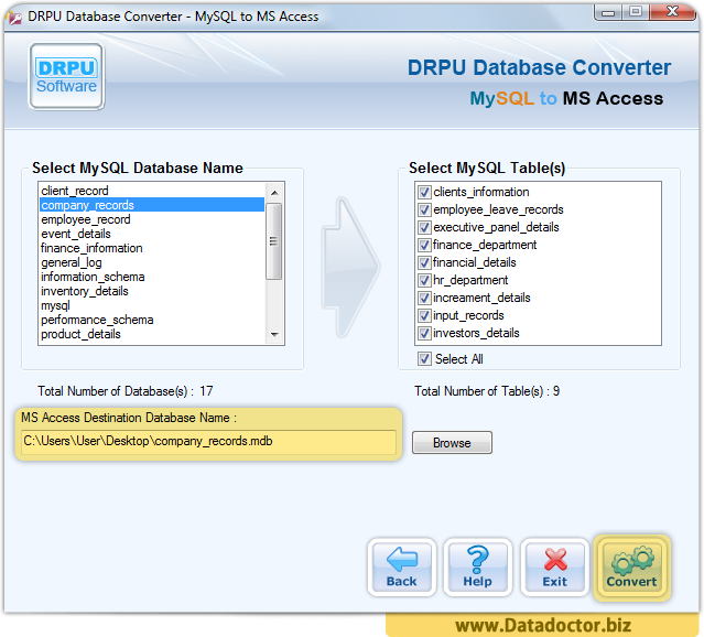 MySQL to MS Access Database Converter Software