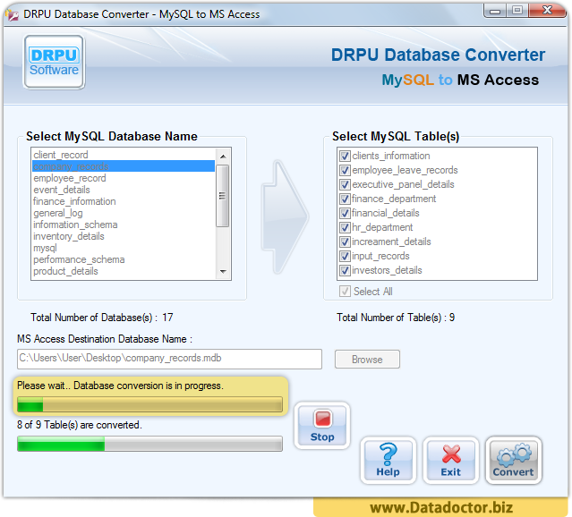 MySQL to MS Access Database Converter Tool