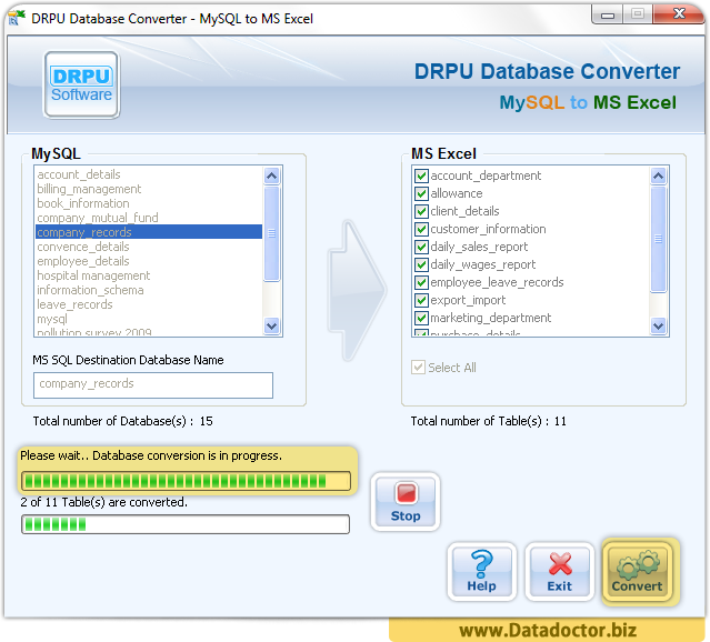 MySQL to MS Excel Database Converter Software
