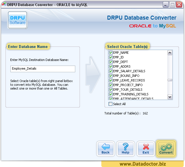 Oracle to MySQL Database Converter Software