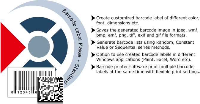 Barcode Label Maker -  Standard Features