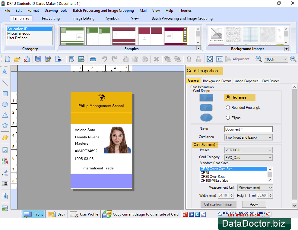 Id Students Using Data Design Cards Maker Student Excel Software For