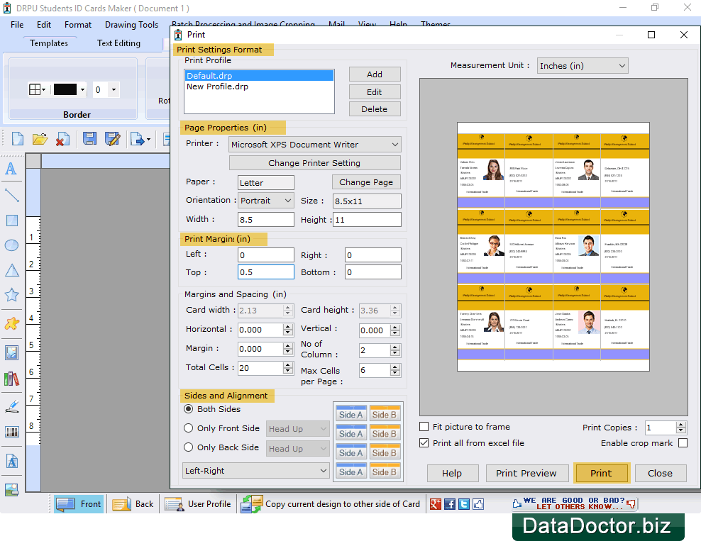 For Design Student Data Cards Using Id Students Software Excel Maker