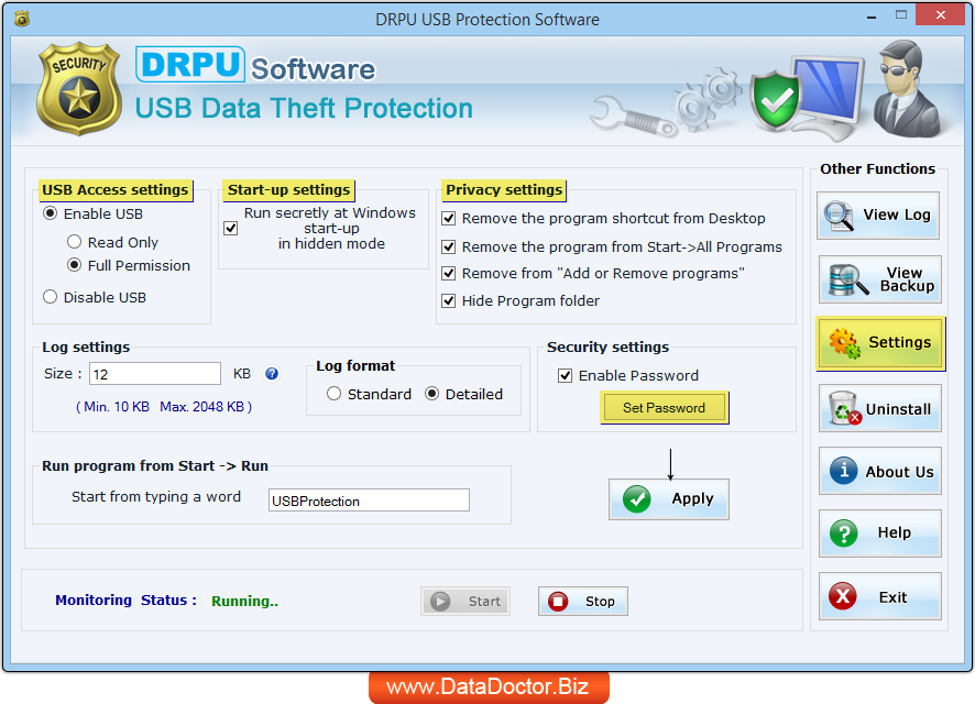Launch USB Data Theft Protection Software