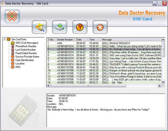 Sim Card Data Recovery screen shot